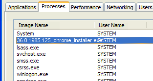 36.0.1985.125_chrome_installer.exe not responding