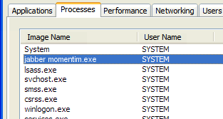 jabber momentim.exe windows process