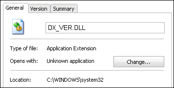 DX_VER.DLL properties