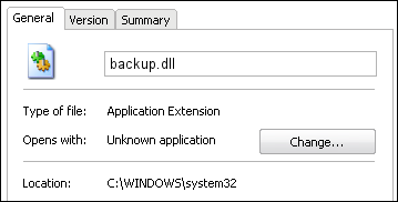 backup.dll properties