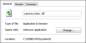 canoncodec.dll properties