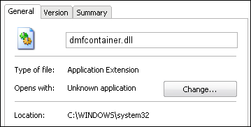 dmfcontainer.dll properties